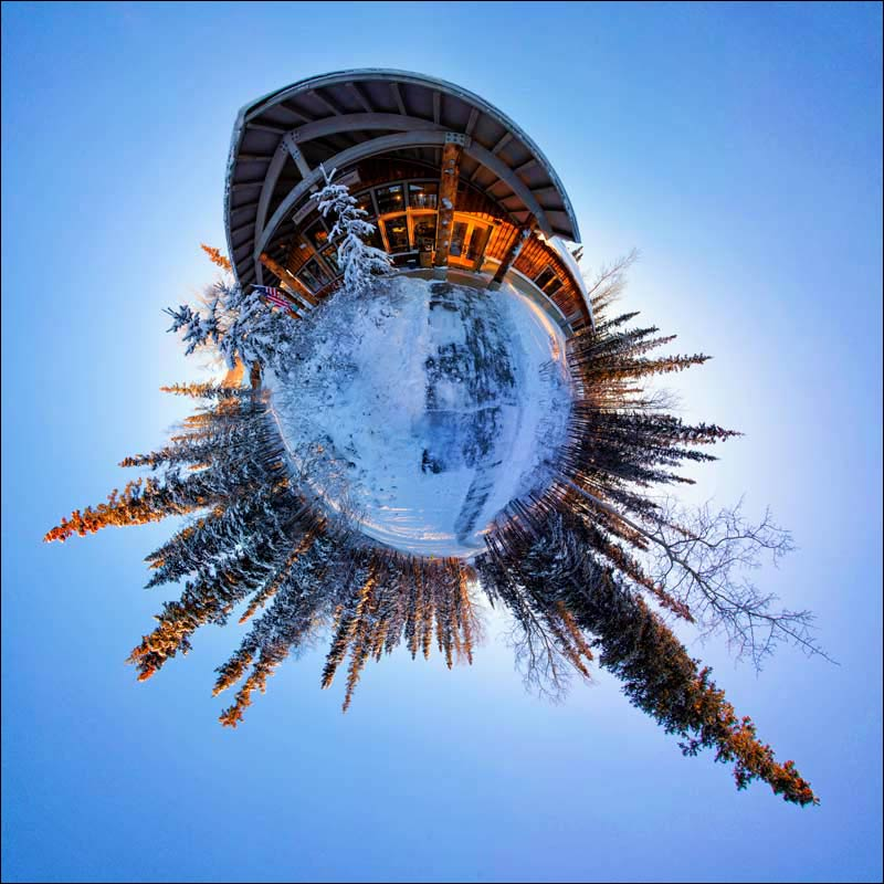 Little Planet view of Denali Park's Winter Visitor Center in Alaska