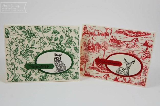 Eine grüne und eine rote Weihnachtskarte mit dem Stempelset Natures Beauty von Stampin' up