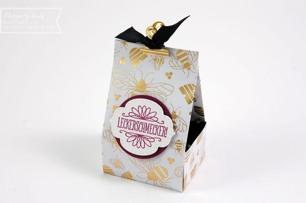 Stampin Up, Verpackung mit Bienen und Gold-Papier