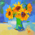 green-vase-with-sunflowers