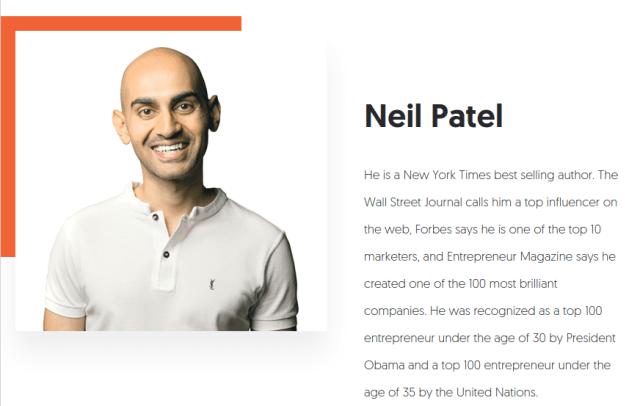 Screenshot of Neil Patel Business Card