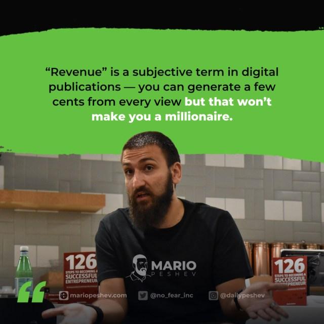 revenues for digital publications