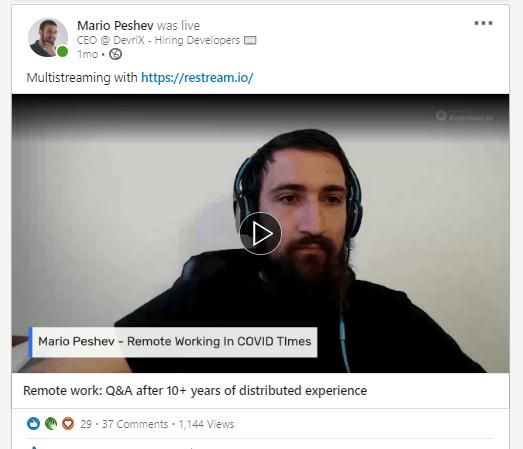 Mario Peshev Live on LinkedIn