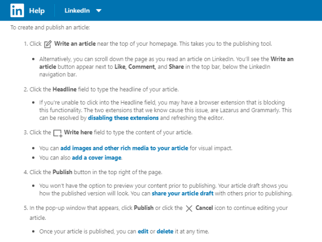 how to write an article on LinkedIn
