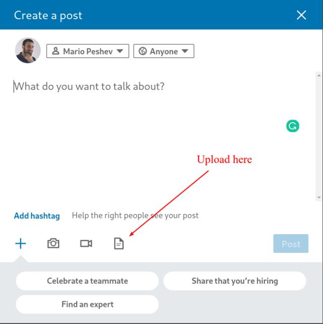 Uploading LinkedIn slides