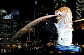 Merlion at night