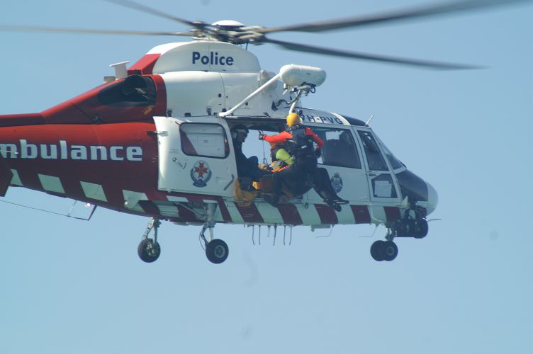 Australian rescuers training