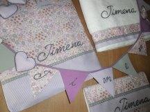 conjunto de bolsa- toalla, banderola y cambiador personalizdos