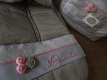 buzo de sillita y bolso, decorado y personalizado