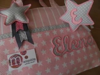conjunto infantil personalizado de bolso, toalla y diadema