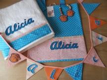 conjunto de bolso, toalla y banderola personalizada