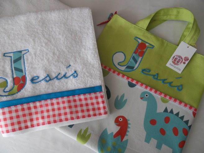 conjunto bolsa y toalla personalizado