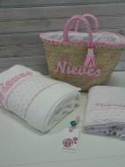 conjunto de capaza toalla y sábanas infantiles personalizadas