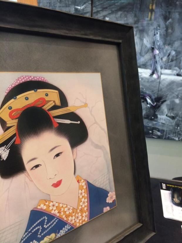 Recuerdos de viaje a Japón enmarcados