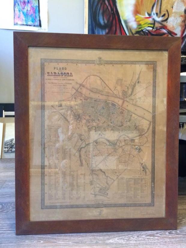 Un plano antiguo de Zaragoza del año1808. #enmarcaciones #zaragoza #arte #MarisaCervantes #decoracion #cuadros #marcos