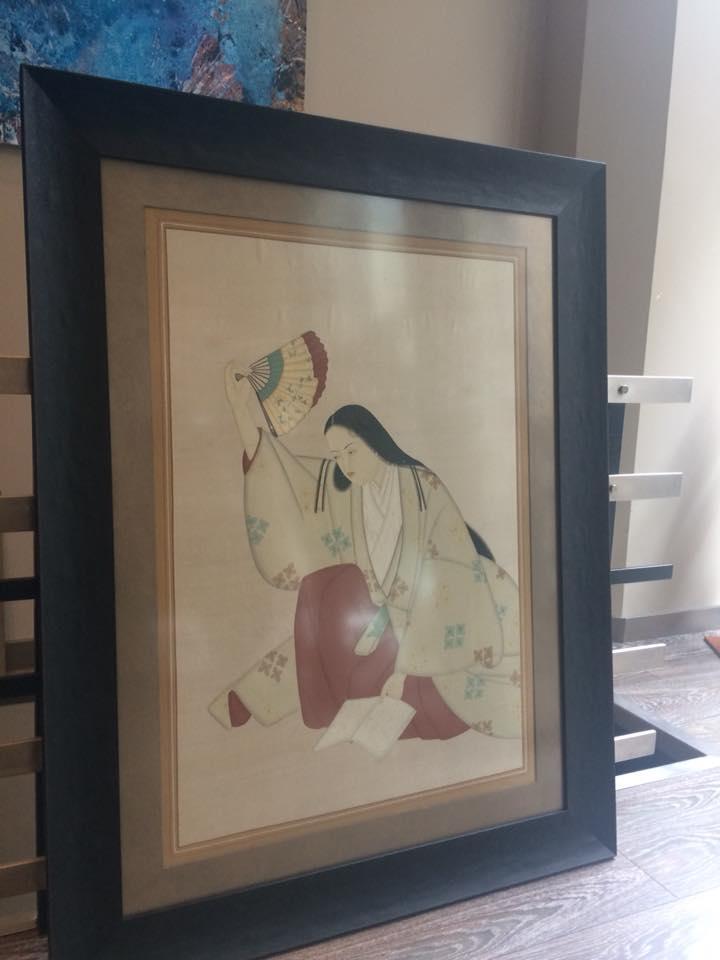 Una seda enmarcada #MarisaCervantes #cuadros #arte #decoracion #japon #enmarcaciones #marcos #seda