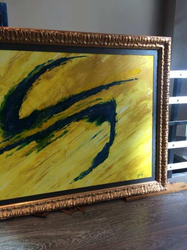 Un óleo contemporáneo enmarcado,,el marco le da fuerza y categoría,,,,,