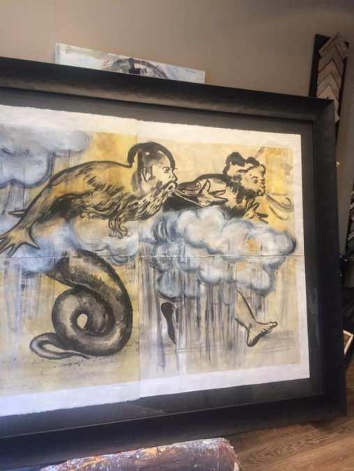 Una obra enmarcada de Carlos Pardos. Además de pintor, es ilustrador. #cuadros #arte #decoracion #CarlosPardo #marcos #MarisaCervantes #Zaragoza