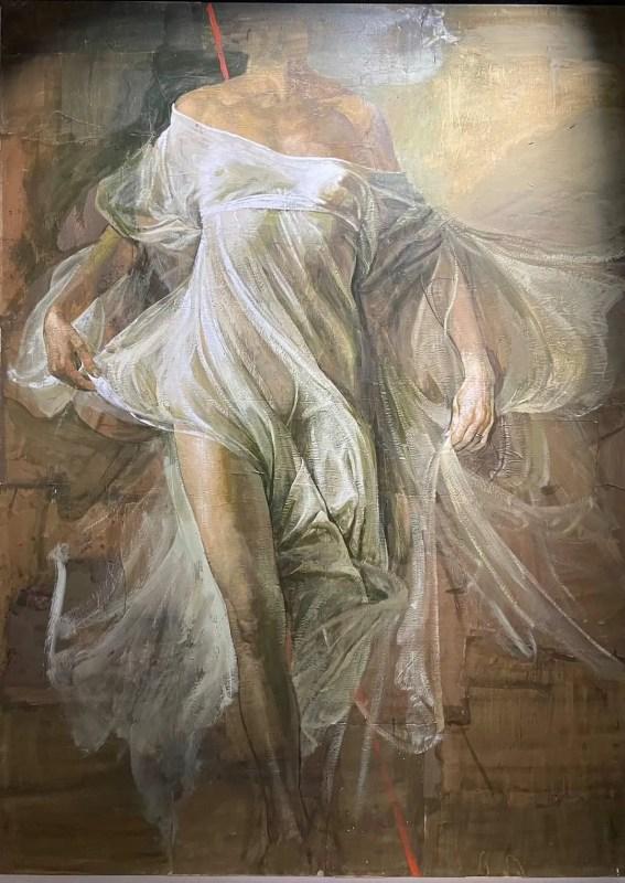 """Safet Zec, Corpo di donna del ciclo """"Nike"""", 2016 tempera e collage su carta, tela su telaio di legno, 160 x 220"""