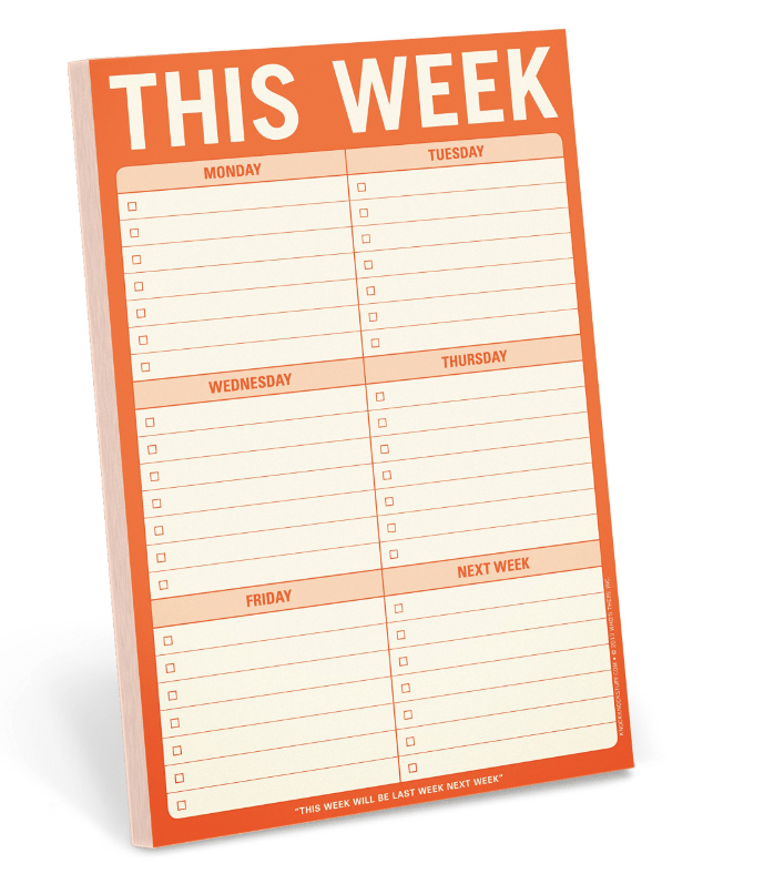 weekly notepad in orange