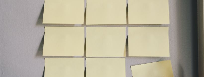 sticky notes posted on a wall