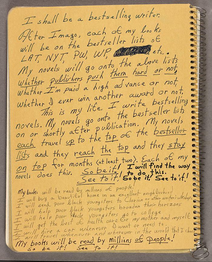 Mentor Moment: Octavia Butler's notebook