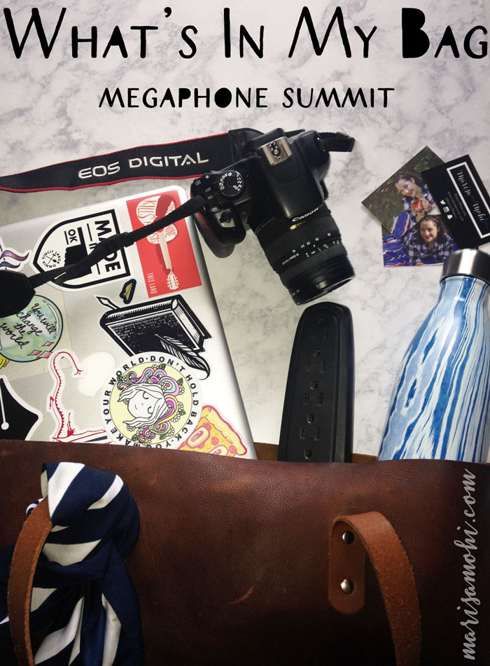 What's in my bag for the Megaphone Summit bloggers conference!
