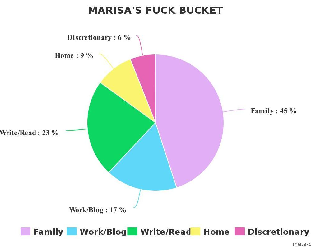 This pie chart illustrates how I allot the fucks in my fuck bucket.