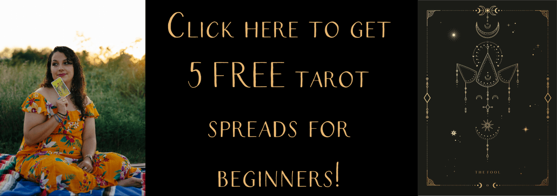 "Banner image that says ""click here to get 5 free tarot spreads for beginners!"""