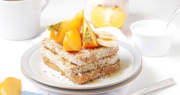Coconut Buttermilk French Toast with Persimmon, Banana and Rice Malt Syrup