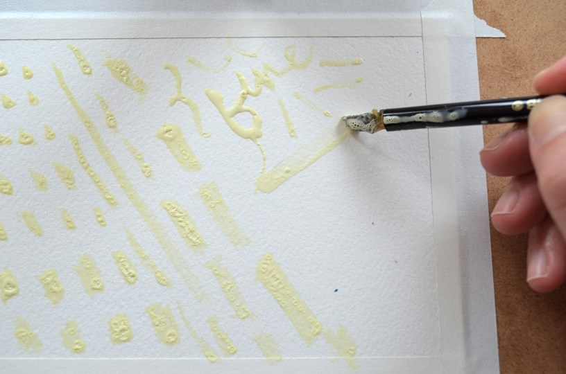 Step 2 (continued): This is an example of using the masking fluid nib to create fine or chisel type marks. They also make masking fluid pens for finer lines (not shown here).