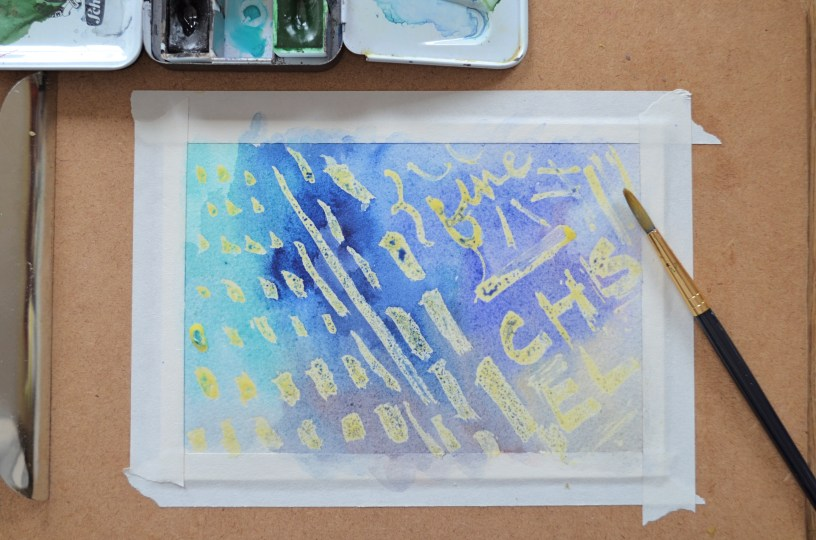 Step 4 (continued): Let paint dry completely. Note that the effect of the masking fluid will be contrast more with a darker background. You can also experiment with the masking fluid to create thinner layers so some of the paint seeps through.