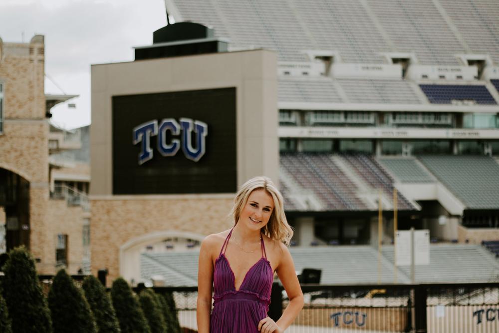 senior photo at tcu stadium in Fort Worth