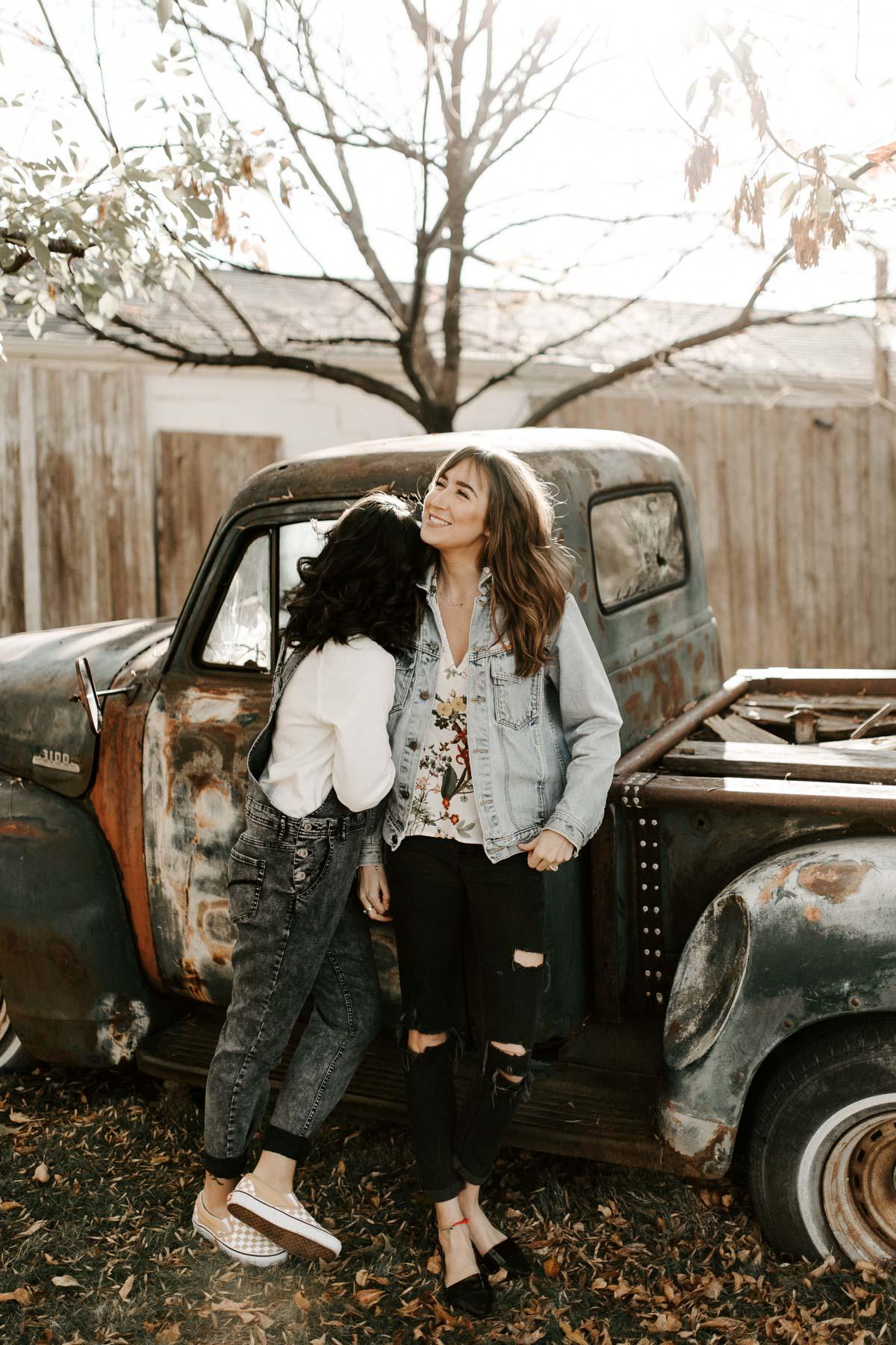 Rustic truck engagement photos in denton