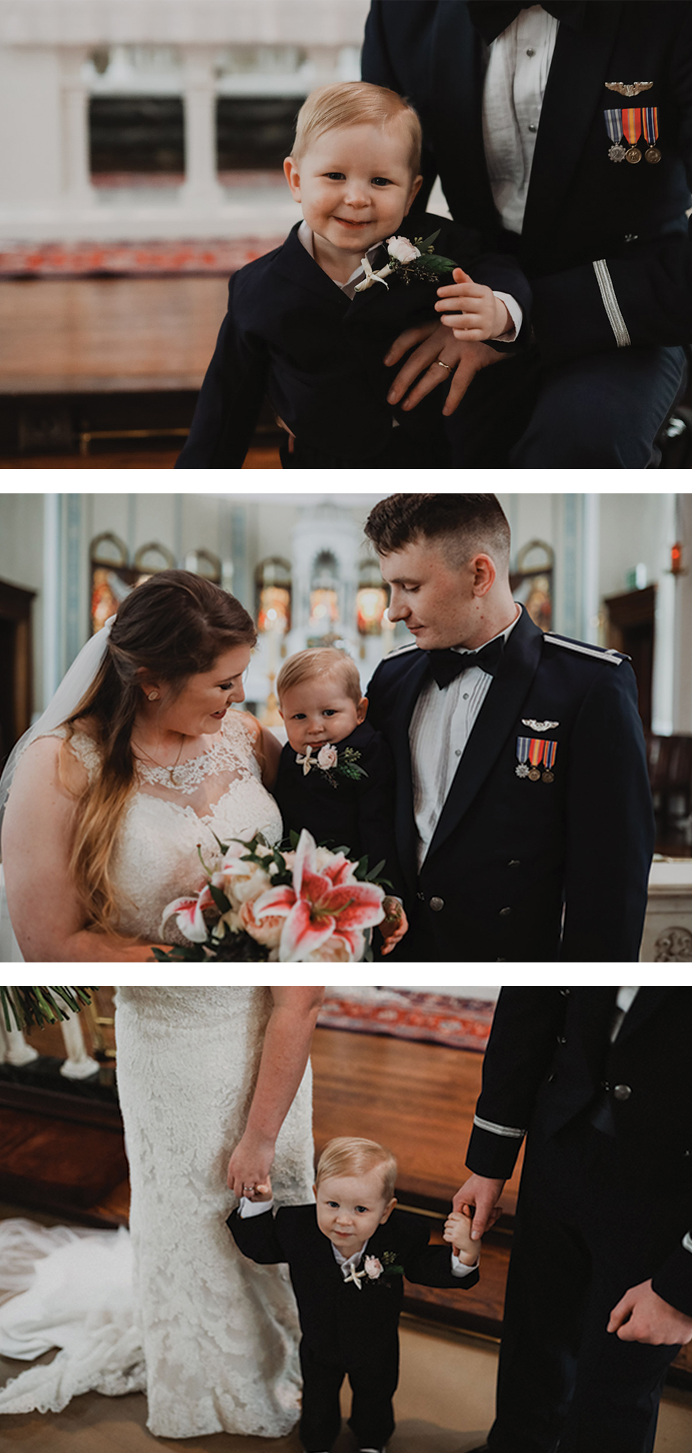 adorable ring bearer and parents after wedding ceremony