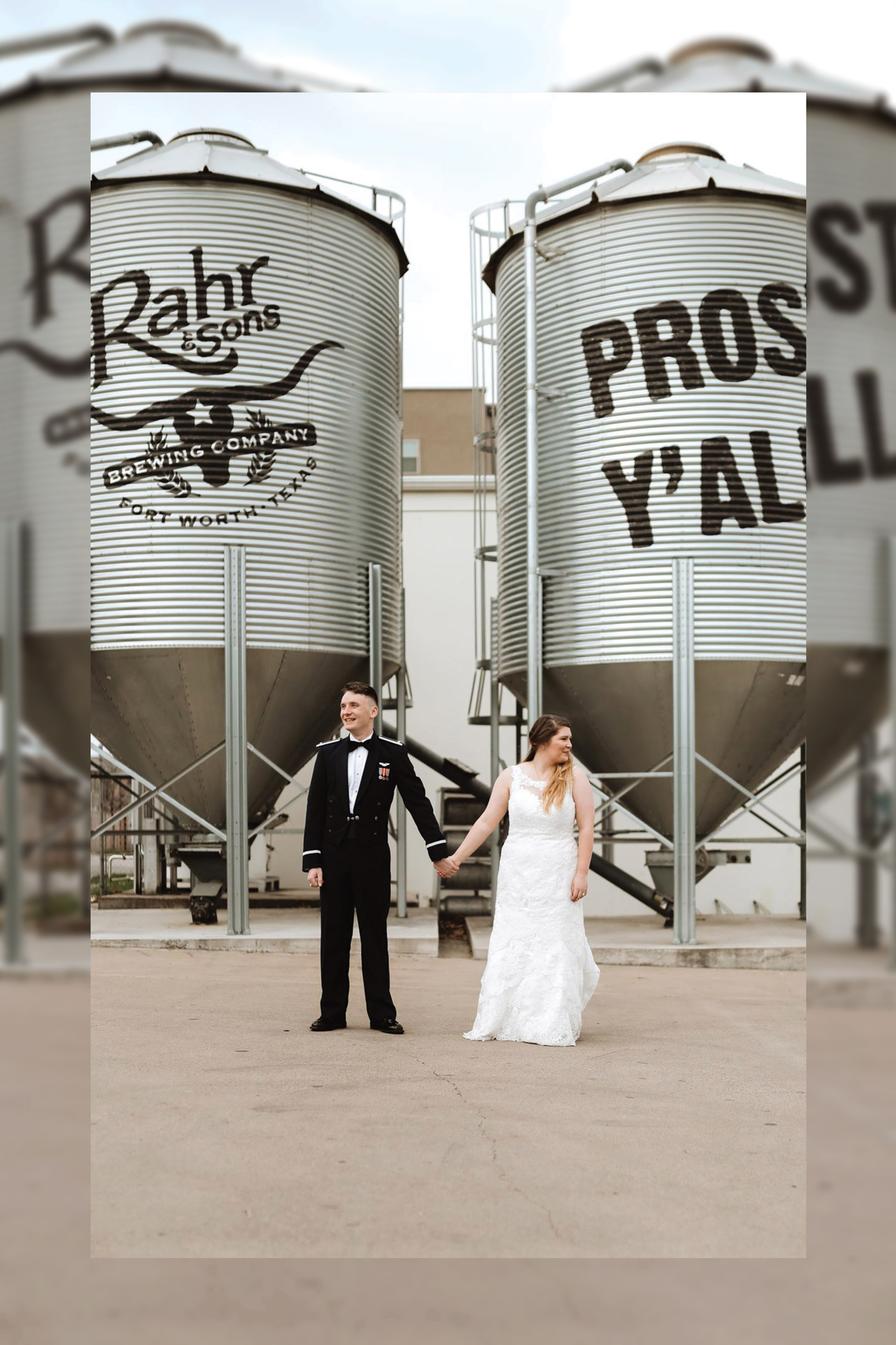 bride and groom before reception at a brewery in Fort Worth