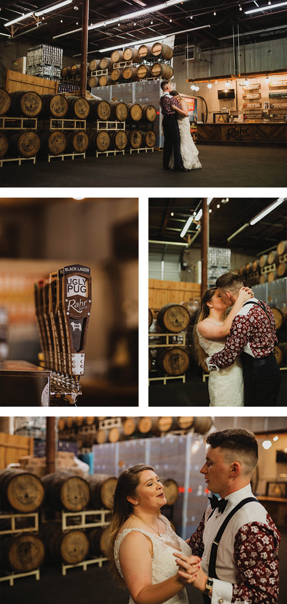 rustic industrial wedding reception at a brewery in Fort Worth