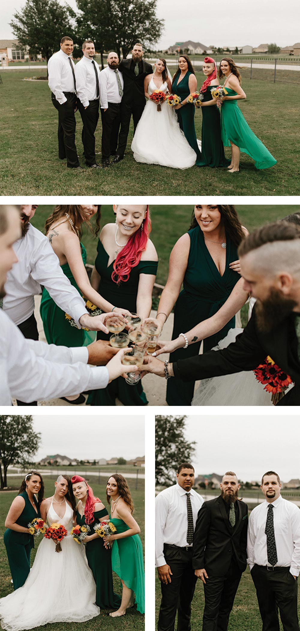 the coolest bridal party photos at an epic backyard wedding elopement