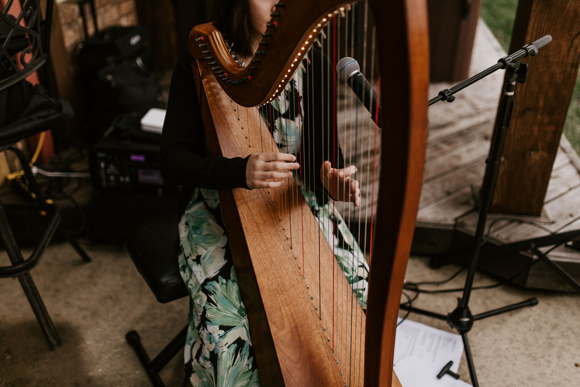 harpist at outdoor wedding
