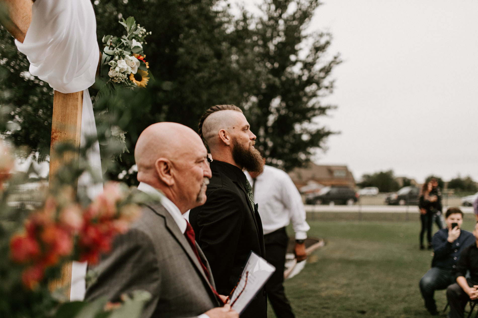 groom waiting for bride to walk down the aisle