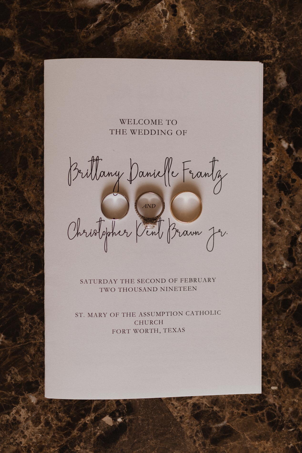 wedding program with wedding rings