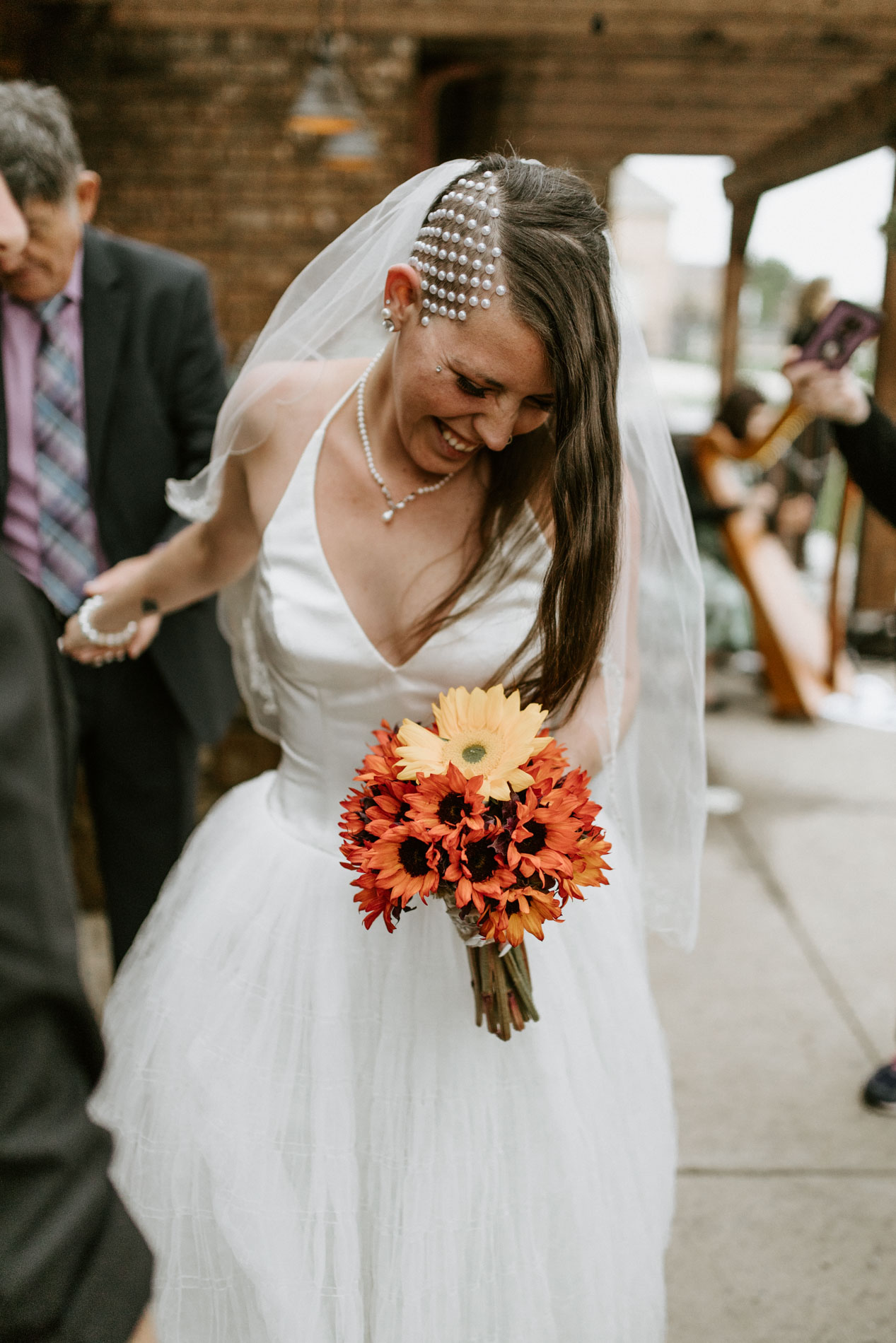 alternative bride celebrating her new marriage