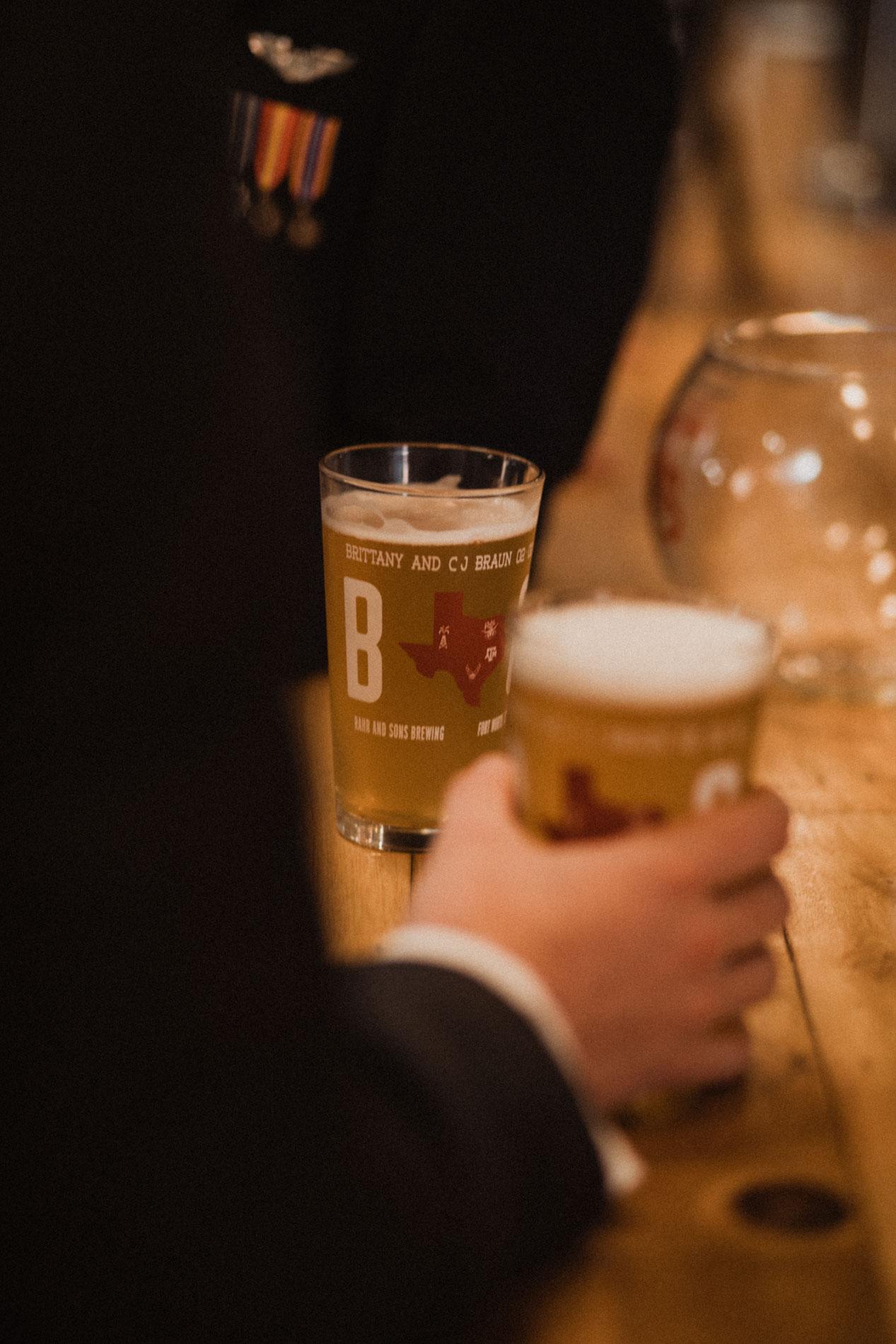 custom beer mugs at wedding reception