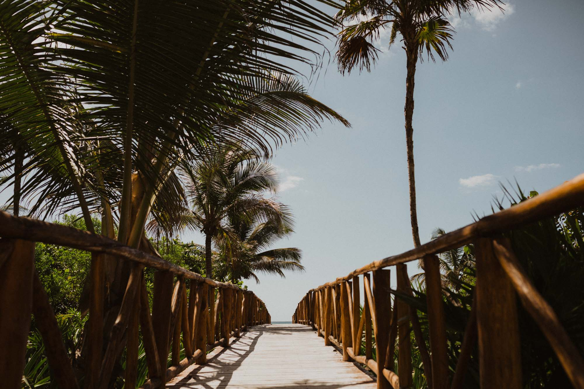 bridge leading to the beach in Mexico