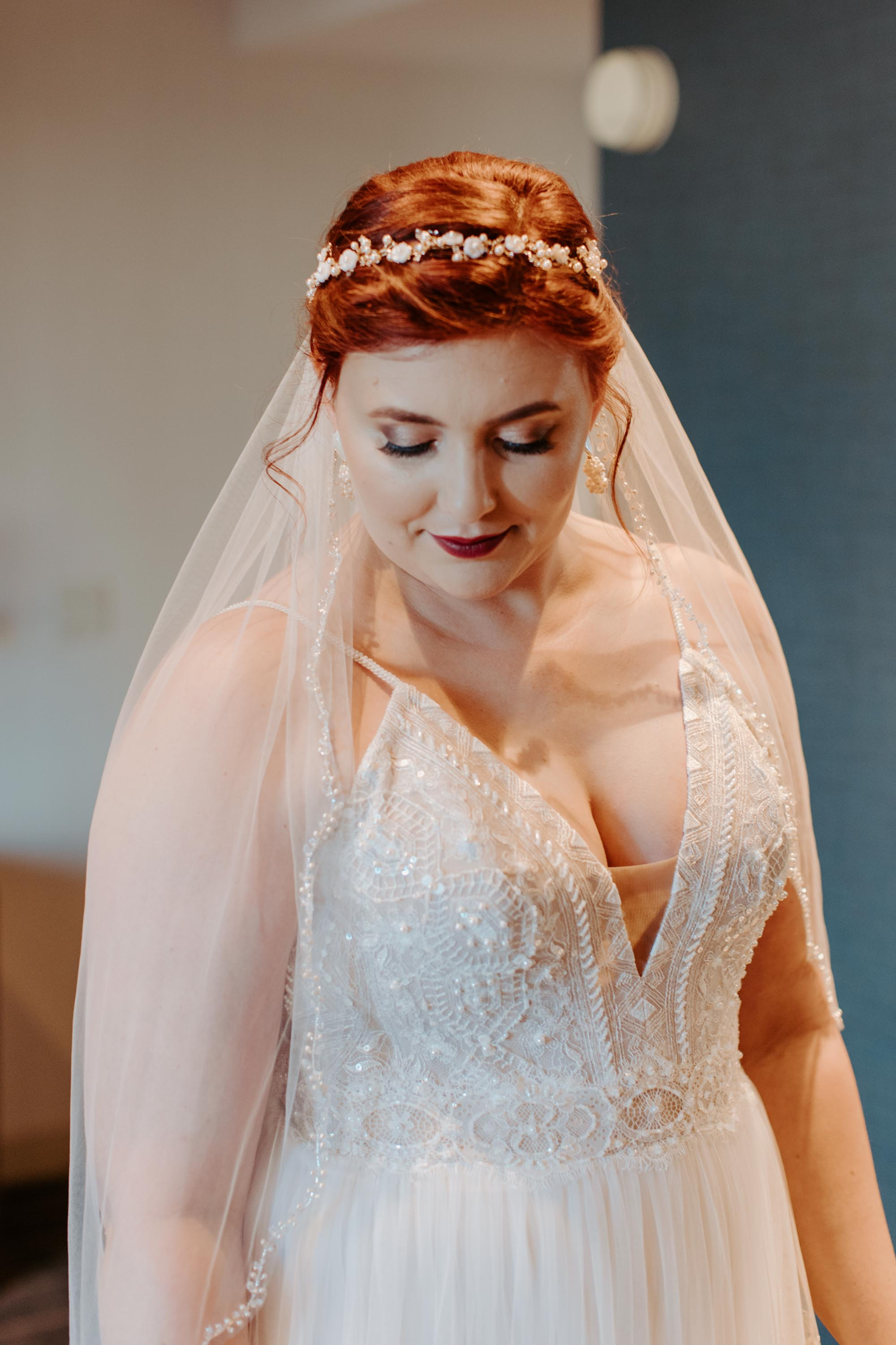 Bridal photo of Dallas TX bride with red hair