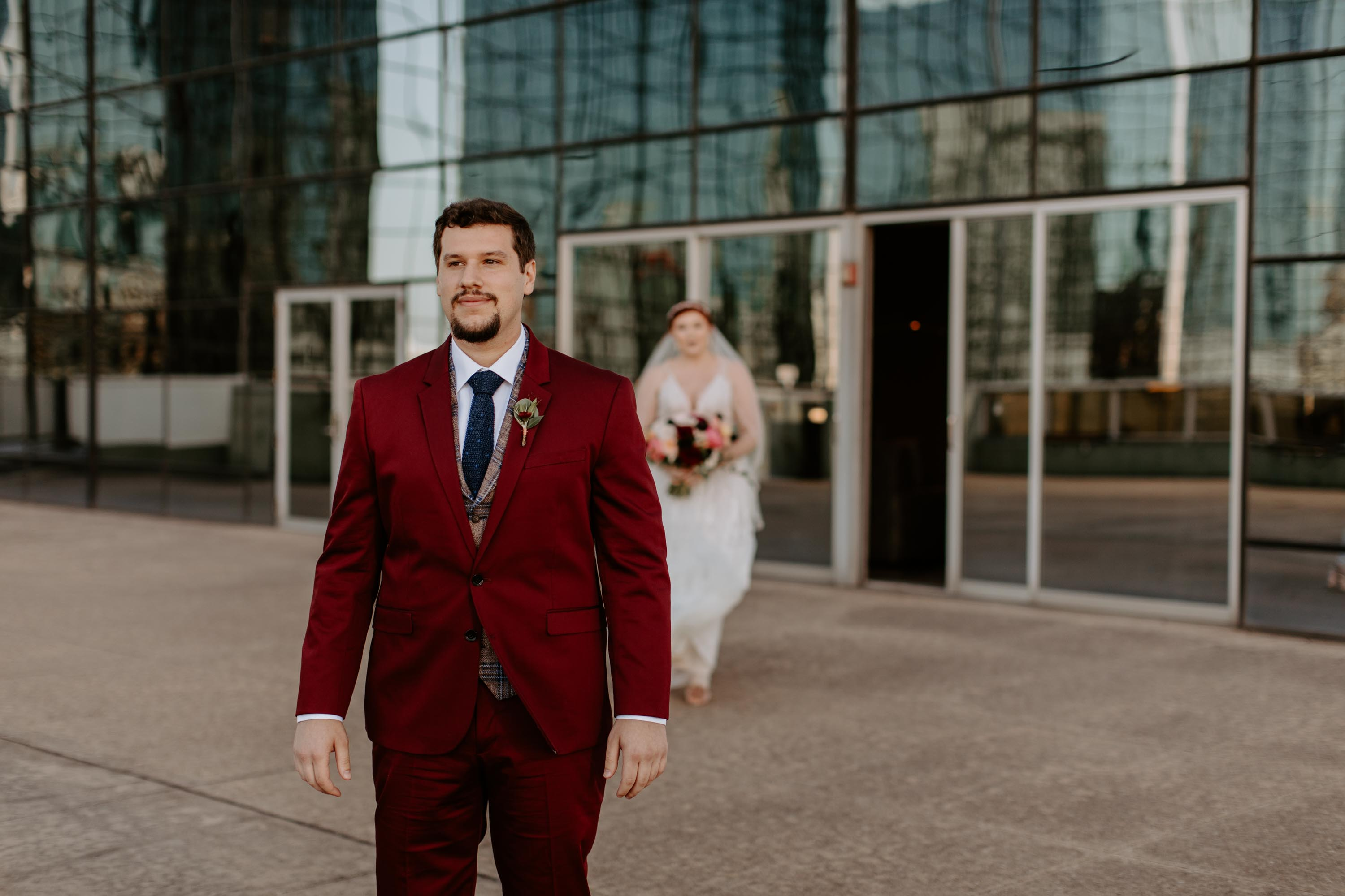 Bride and Groom first look at reunion tower
