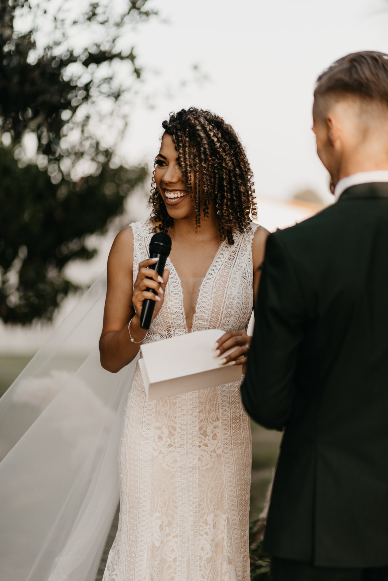 Bride reading her wedding vows