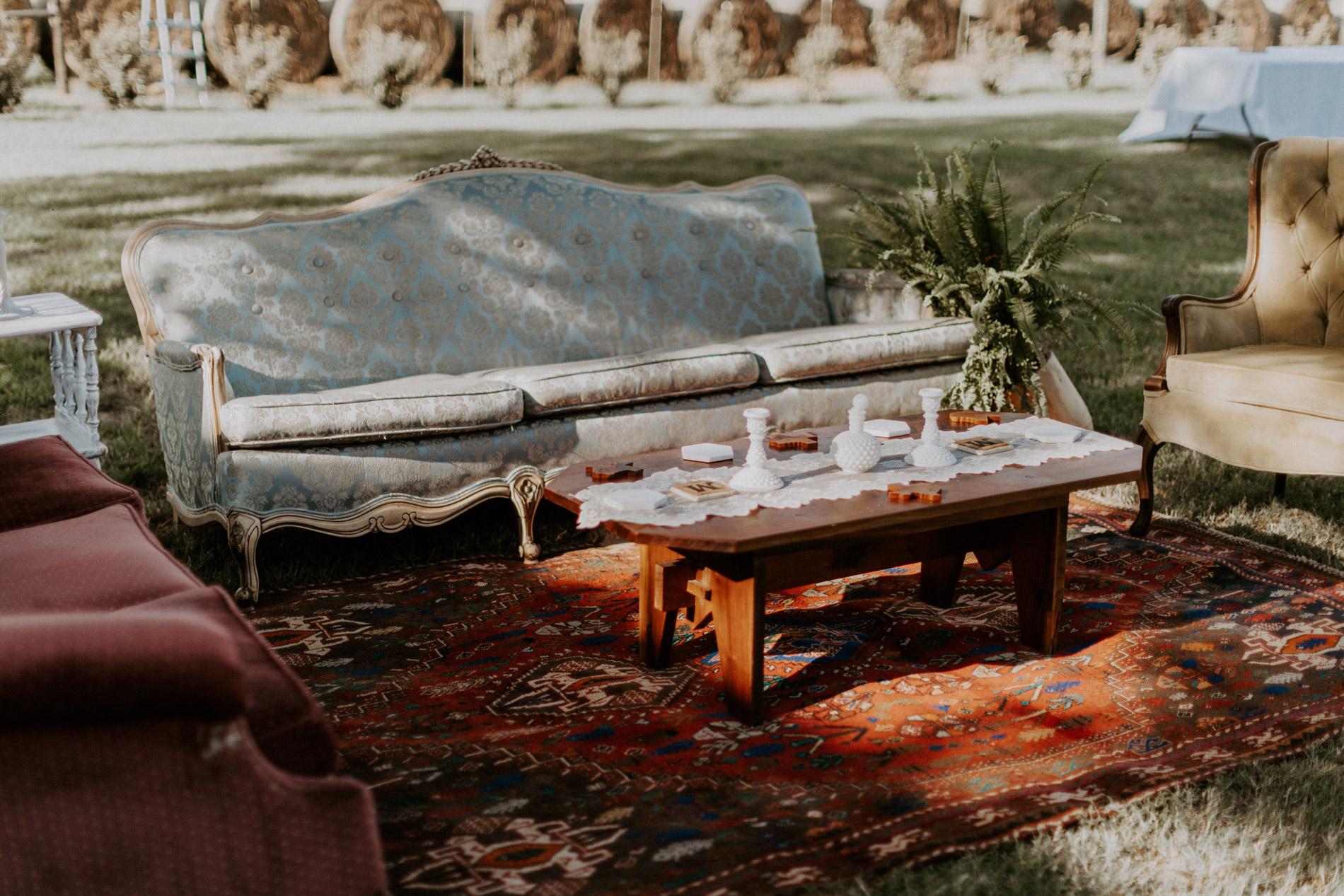 Vintage seating at East Texas wedding