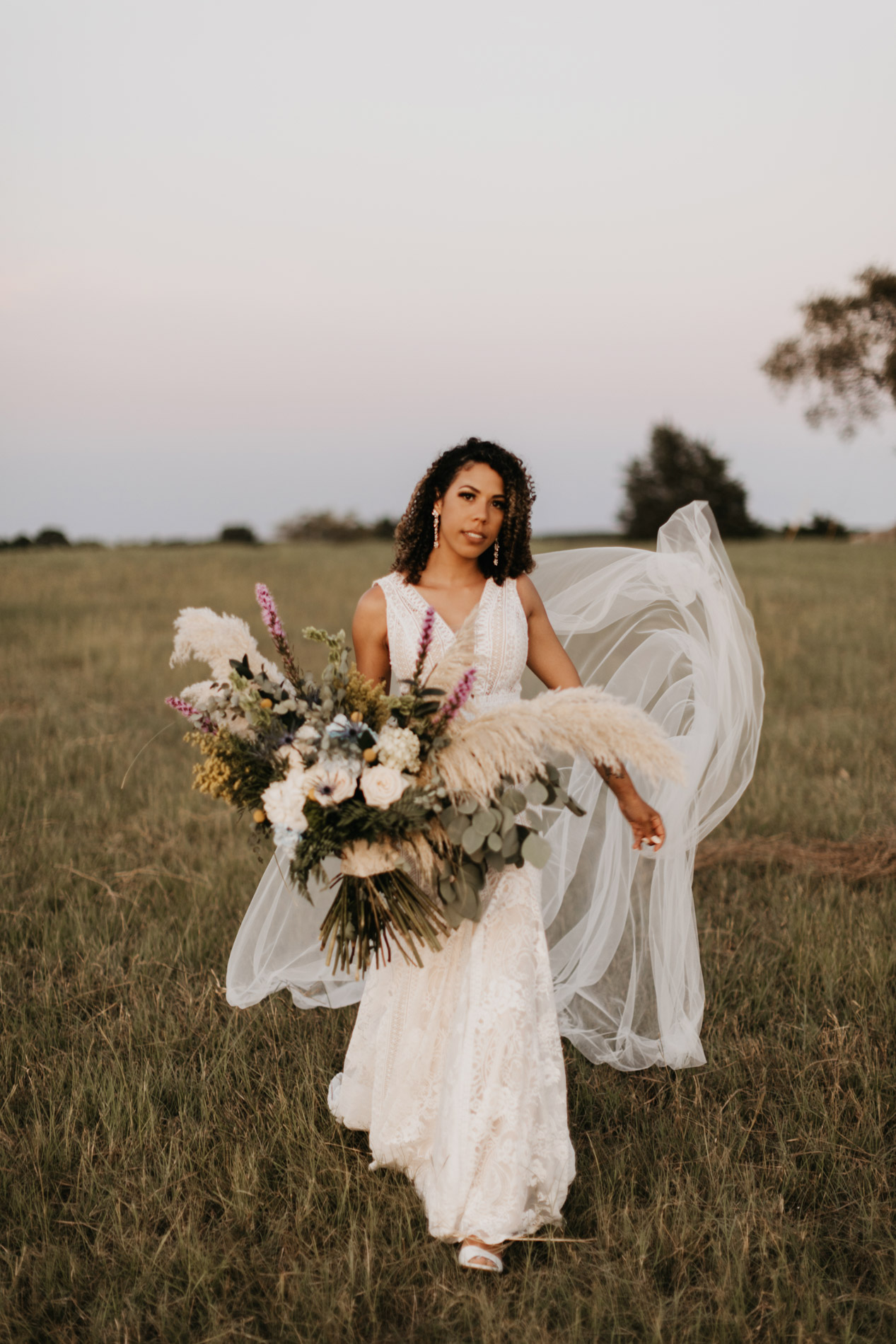 Trendy bohemian bride on her wedding day