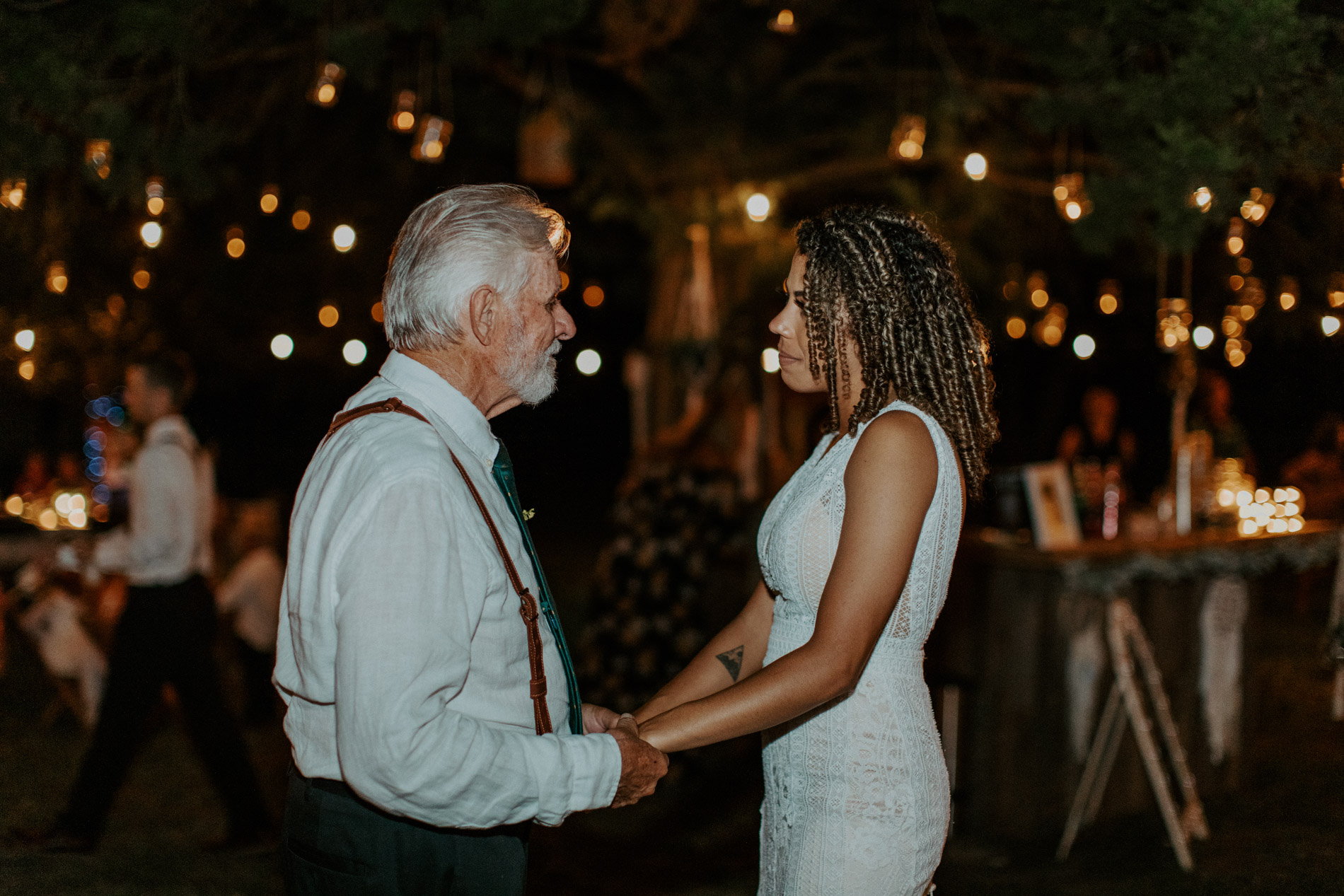 Bride having an emotional moment with her grandpa at her wedding